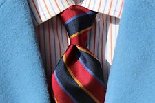 Lands' End Gentleman's Red, Navy, Gold, Periwinkle Striped All Silk Tie - USA