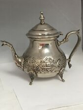 Vintage Authentic Moroccan Handcrafted Silver Teapot