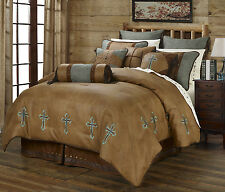 Turquoise Cross - Western - 7 Piece Super King Size Comforter Bedding Set
