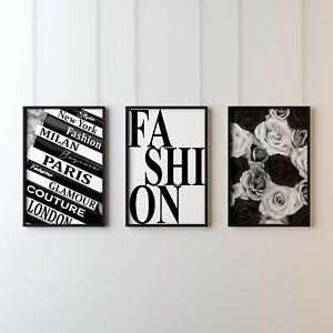 Set of 3 Fashion Prints Poster Floral Wall Art Black & White Decor Couture -150