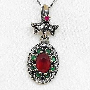 Deco 2.15ctw Ruby, Emerald & Diamond Cut Sapphire 14K Yellow Gold Silver Pendant