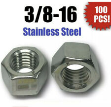 (Qty 100) 3/8-16 Stainless Steel Finished Hex Nuts 304 /