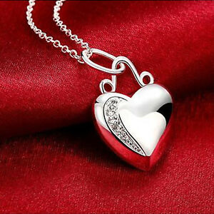 Silver Plated 925 Heart Shaped Crystal CZ Detail Solid Love Pendant & Necklace