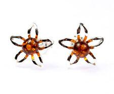 SilverAmber Jewellery Earings GL075 925 Sterling Silver Cognac Amber Stones