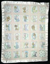 PRECIOUS MOMENTS Baby Girl Alphabet Quilted Blanket White Satin Edges 35x45 EUC