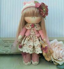 Handmade Rag Doll Hand made in UK Tilda doll Ooak doll FLEUR 8 inch tall