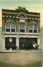 Waterloo Iowa~West Side Fire Station Number 2~Firemen~Dog on Chair~Horses~1910