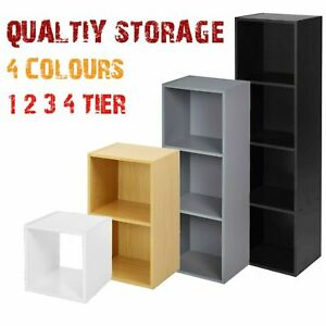 Oxford Cube Bookcase 1 2 3 4 Tier Shelf Display Wood Furniture Storage Unit BooK
