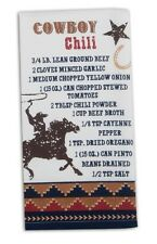 Western Kitchen Towel | Cowboy Chili Recipe Cotton Flour Sack | White Brown