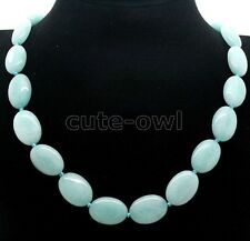 "13x18mm Aquamarine Soft Blue Jade Gemstones Oval Beads Necklace 18""AAA"