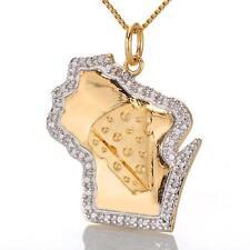 New State Pride Wisconsin Gold & Diamond Pendant