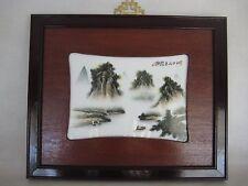 Vintage Chinese Art Porcelain Tile Painting Famille Rose Fencai Wood Framed
