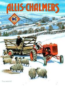 Allis Chalmers Traktor Im Schnee (Von Trevor Mitchell) Groß Stahl Zeichen (Og)