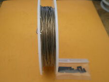 STAINLESS STEEL CLEAR  WIRE LEADER 75 FEET 90 lbs TEST 1X7 STRAND + 20 SLEEVES