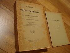 Linon Précis de Droit français relatif aux animaux domestiques 1951 Vétérinaire