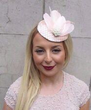 Blush Pink Ivory Cream Velvet Feather Pillbox Hat Fascinator Hair Clip Vtg 2605