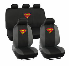9 PC Car Seat Covers WB Superman Gray and Black w/ Original Logo Full Set