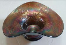 Carnival Glass Candy Dish Bowl Purple Blue Iridescent Damaged Display Item Only