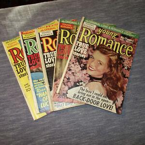 5 YOUNG ROMANCE COMICS #15, #18, #19, #20, #22  1949-1950 (kf)