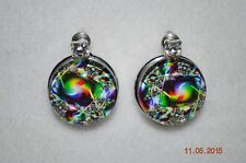 NEW Snap Chunk metal Button Charm DESIGN w/clear RHINESTONEs EARRINGS 18-19MM