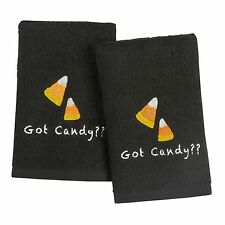 Set Of 2 Candy Corn Halloween Black Bathroom Hand Towels Cotton Terry Cloth