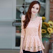 Korean Womens Slim Crew Neck Long Sleeve Chiffon Lace Peplum Shirt Blouse Tops