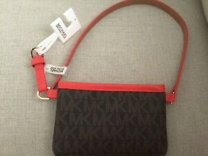 Michael Kors Fanny Pack Belt MK Logo Bag 551749C Genuine Leather sz S NWT$68.00