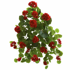 """Geranium Artificial Plant Home Decor Bold Red Flowers Nearly Natural 26""""Set of 2"""