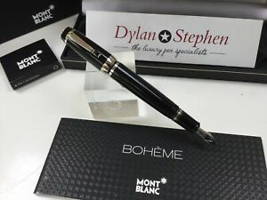 Montblanc Boheme Noir platinum fountain pen 14K medium retractable nib + boxes
