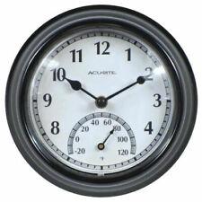 AcuRite Indoor/Outdoor Black Clock Weather-resistant Quartz Crystal -20°F to 120