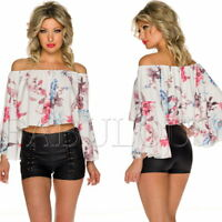 New Women's Hot Floral Print Off Bare Cold Shoulder Crop Top Size 8 10 12 S M L