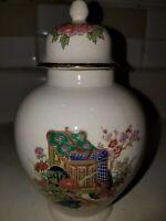 Vtg  Oriental  Porcelain Ginger/Satsuma Jar Hand Painted Rickshaw Scene Japan