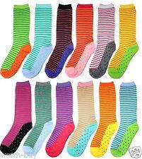New 12 Pairs Womens Striped Dot Multi Colors Crew Socks Cotton Size 9-11 Fashion
