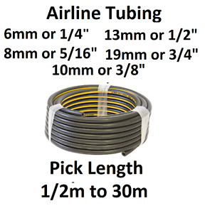 Air Line Rubber Hose Tubing Rated 20 Bar AIRLINE Tools Compressor Tube No Ends