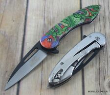 MASTER COLLECTION DRAGON DESIGN SPRING ASSISTED KNIFE WITH POCKET CLIP