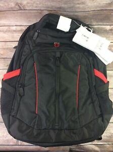 "Swiss gear back pack 18.5"" laptop tablet multi pockets black red sa3906"