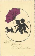 Kinder mit Hund und Schirm, Scherenschnitt, Schattenbild, Künstlerkarte von 1931