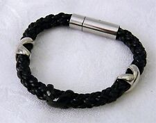 Braided Round Leather & Crosses Bracelet with Stainless Steel Clasp  BLACK