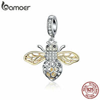 BAMOER Genuine s925 Sterling silver Charms motion bee & CZ Fit Women Bracelets