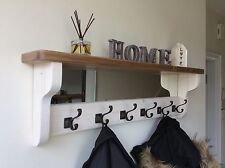 *Beautiful quality handmade wooden coat hook rack with mirror and shelf*