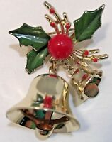 Vintage Estate Small Brooch Christmas Bells Green Holly Red Berry Gold Tone