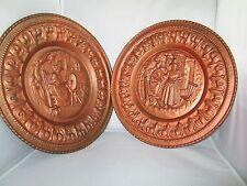 """Gold Copper Color Tin Hanging decorative 12"""" Wall Plates Jenny Jones, Welsh Girl"""