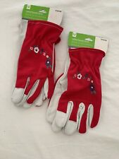 Style Selections Women's Medium Pink White Leather Garden Gloves Lot Of 2