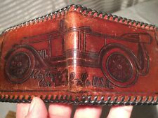 Vtg Tooled Leather Bi-Fold Wallet, Antique Car Club America, Automobile Engraved