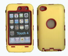 Best Protection Case / Cover for iPOD TOUCH 4 YELLOW / RED Free Stylus!!!