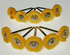 "10 MultiLayer 3/4"" Yellow Cotton Polish Brush 1/8"" bit Dremel's or Rotary Tools"