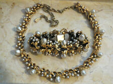Chunky Antiqued Gold Retro Tortolani Necklace & Bracelet Set with Faux Pearls
