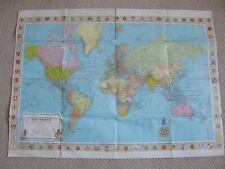 1966 ORIGINAL STANFORDS MAP OF THE WORLD ON MERCATORS PROJECTION WALL MAP