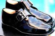 PRADA Men's Black  l Leather Silver Side Buckle Dress Shoe Brand size 7.5