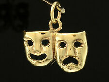 C028 Genuine 9K Solid Gold Theatrical Comedy Tragedy Masks Charm 3D + jumpring